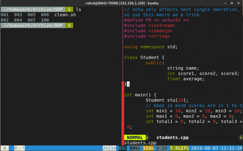 GNOME Terminal with Byobu and Vim